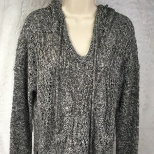 Maurices Womens Sweater Size M Hooded Gray Pullove